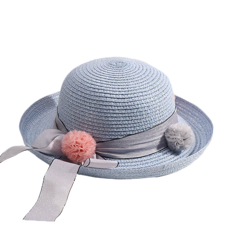 Fashion Girls Boys Straw Hats Summer Baby Sun Cap Lovely Children Solid Color Ribbon Decor Cap