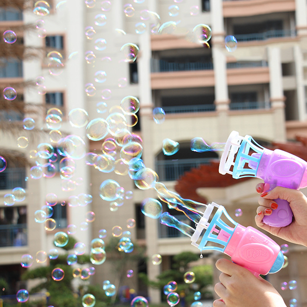 Funny Magic Soap Bubble Blower Machine Electric Automatic Bubble Maker Gun With Mini Fan Kids Outdoor Toy Wedding Supplies TSLM1
