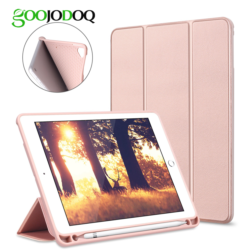GOOJODOQ Smart Case For iPad 2018 9.7 2017 Pro 9.7 with Pencil Holder Silicone Soft Cover for Apple iPad Air 2 / Air Case Funda