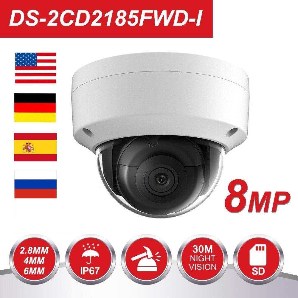 Original HIK 8MP POE IP Camera DS-2CD2185FWD-I Outdoor 8 Megapixel Network Dome security CCTV Camera SD card 30m IR H.265+