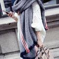 2016 New Stylish Brand stripes Cashmere Poncho Lady Knit Blanket Scarf with Tassel Warm Shawl Cape Warm Women tassels Scarf