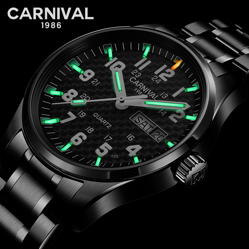 CARNIVAL 25 years Tritium Self Luminous Quartz Men s Watches Top brand full black Watch men