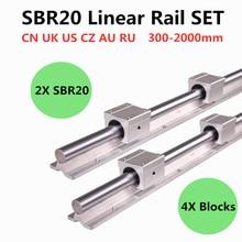 2 pces sbr20 200 2000mm trilho de guia linear e 4 blocos lineares do rolamento dos pces sbr20uu para o trilho linear das peças 20mm do cnc
