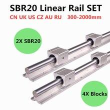 2pcs SBR20 200 2000mm רכבת מדריך ליניארי 4pcs SBR20UU ליניארי נושאות בלוקים עבור CNC חלקי 20mm רכבת ליניארי