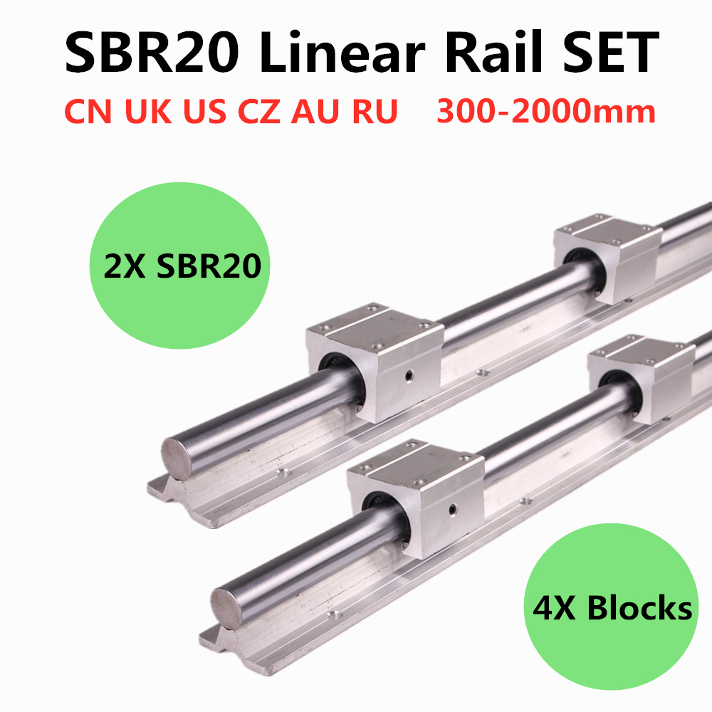 2pcs SBR20 200-2000mm Linear Guide Rail And 4pcs SBR20UU Linear Bearing Blocks For CNC Parts 20mm Linear Rail