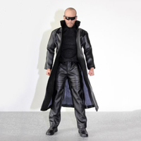1/6 Black Learther Overcoat Pants Clothing Set Model For 12 Action Figure