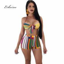 Echoine Women Sexy Two Piece Set Stripe Printed Suit Bandage Bikini Tops Strapless Sleeveless Short Pants Elastic Beach Outfits