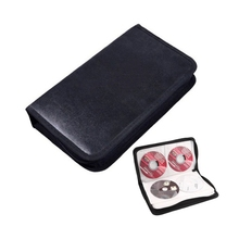 LEORY New Black 80 Disc Leather CD Bag High-grade PU Imitation Car Case Disc Storage Holder Organizer Wallet Box for CD DVD