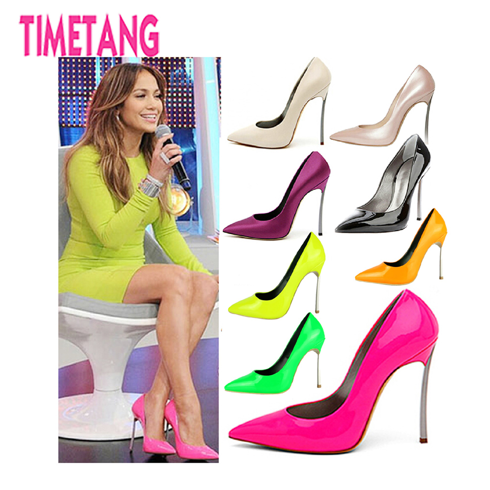 Free shipping TIMETANG Hot Selling Sexy  genuine leather fashion Pointed toe  high heels/Neon 6 color New design heels 34-43 hot selling 2017 new fashion 1 1 quality genuine leather women handbag speedy bag 30 35cm with starp free shipping