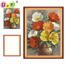 DPF Framed Diamond Painting flower Embroidery mosaic full round Rhinestone craft wall painting unique gift