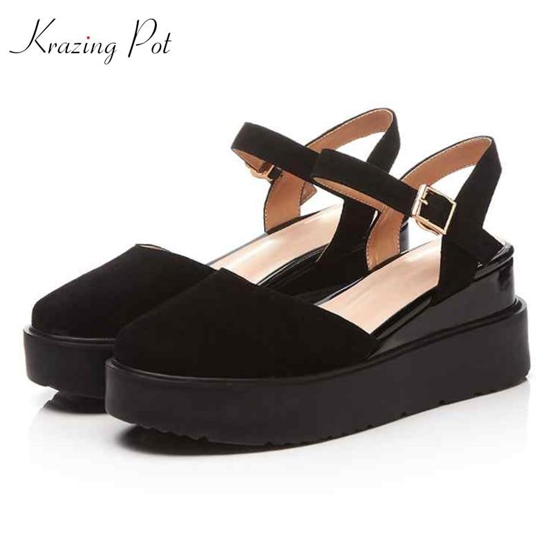 Krazing Pot streetwear kid suede ankle straps high heels shoes women summer rubber soles platform round toe shallow pumps L03 krazing pot kid suede zip breathable