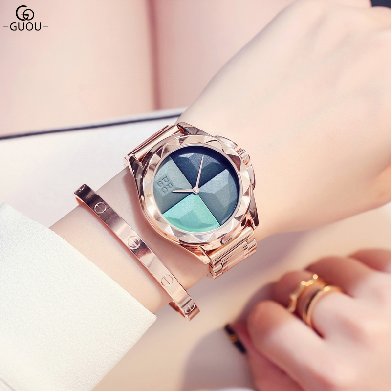 GUOU Brand Ladies Watch Full Rose Gold Steel Band High Quality Quartz Wristwatches Women Watches Saat Reloj Mujer Montre Femme hot sale the fifth 2017 high quality brand watch men ladies watches gold mesh band wrist watch for women montre homme de marque