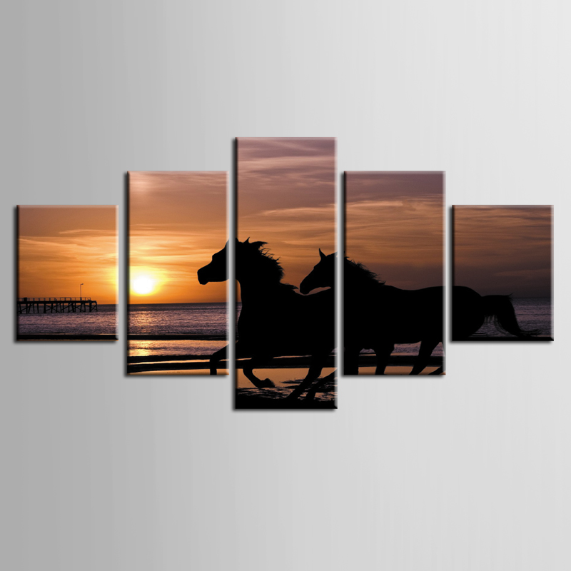 Framed 5 Panel Sunset galloping horse Wall Art Oil Painting On Canvas Printed Painting Pictures Decor painting large living room