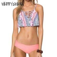 цены на HAPPYSHARK 2018 New Lotus Bikinis Strappy Printed Bikini Set Women Swimsuits Bandage Female Low Rise Swimming Suit  в интернет-магазинах
