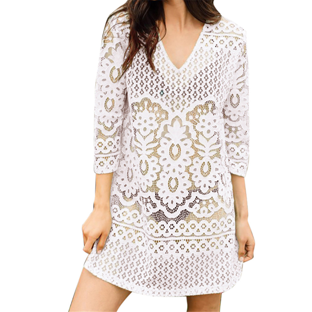 In Quality Learned Muqgew 2019 Women Fashion Cover Blouse Tops Lace Suit White Beach Swimsuit Smock Sexy&cub Blouse Women Haut Femme Vetements Superior
