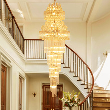 hot deal buy modern long crystal chandelier led lights american gold k9 crystal chandeliers lights fixture stair way home indoor lighting