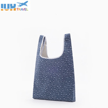 2017 1PCS Eco Storage Shopping Bag Foldable Square Black Blue Stripe Reusable Shoulder Handbag Storage Grocery Tote Bag  Fashion