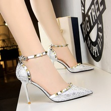 hot deal buy bigtree high heels women dress shoes fashion wedding shoes rivet heels bridal shoes gold/black/silver heels