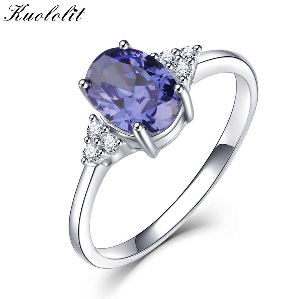 26726e46f1682 Kuololit Solid 925 Sterling Silver Rings For Women Created Tanzanite  Gemstone Ring Wedding Engagement Band Fine Jewelry New
