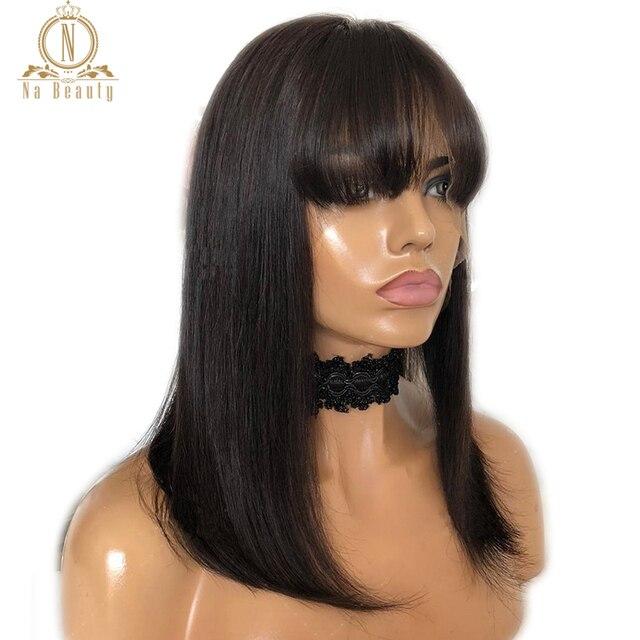 Peluca de encaje frontal de Bob 613 Peluca de pelo humano peruano rojo rubio con flequillo Remy para mujer recta pelo negro