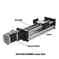 SFU1605 600 мм линейной направляющей 600 мм для активного хода Длина шариковый винт линейной Moulde Настольная лампа с Nema23 шаговый двигатель