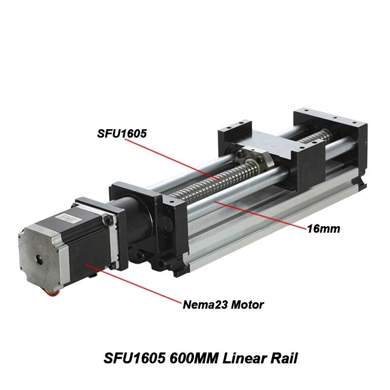 SFU1605 600 MM Guide de Rail linéaire 600 MM longueur de course efficace vis à billes Table de Moulde linéaire avec moteur pas à pas Nema23