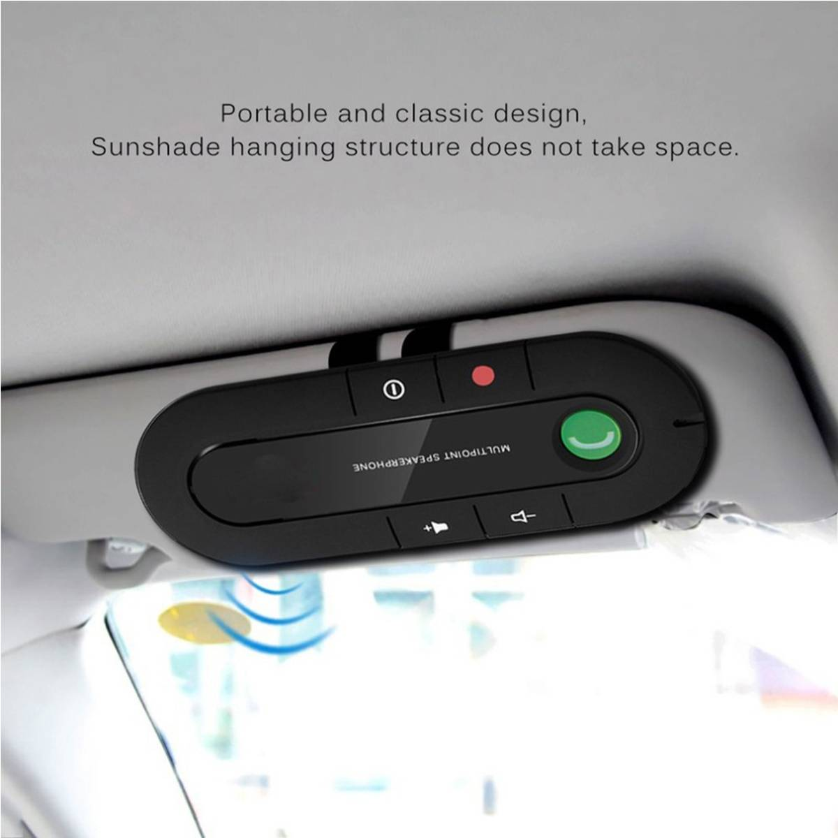 Portable Car Hands-free Bluetooth Receiver Clip-on Sun Visor Wireless Bluetooth Car Mobile Vehicle Speakerphone Music Receiver