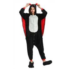 one-piece pajamas casual cartoon black bat pajamas long sleeve animal flannel adult zipper onesies for women plus size Overall цена и фото