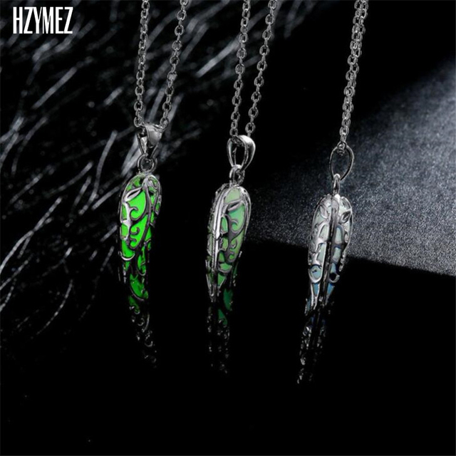 Hzymez vintage moon pendant necklace fluorescent luminous necklaces hzymez vintage moon pendant necklace fluorescent luminous necklaces bronze chain glow in the dark noctilucent jewelry aloadofball Gallery