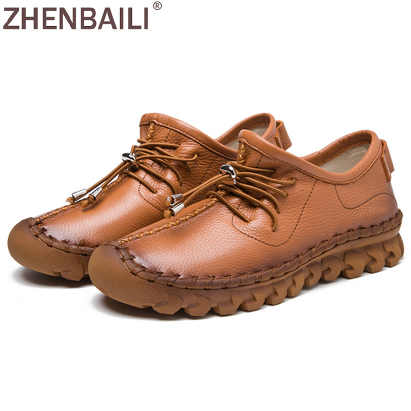 ZHENBAILI  Women Shoes 2017 Autumn Fashion Lace up Sewing Shoes Genuine Leather Casual Flat Shoes Slip-on Lazy Shoes Femal Flats high quality 4cm platforms full grain genuine leather flat casual shoes women 2016 white hollow out lace up fashion autumn flats
