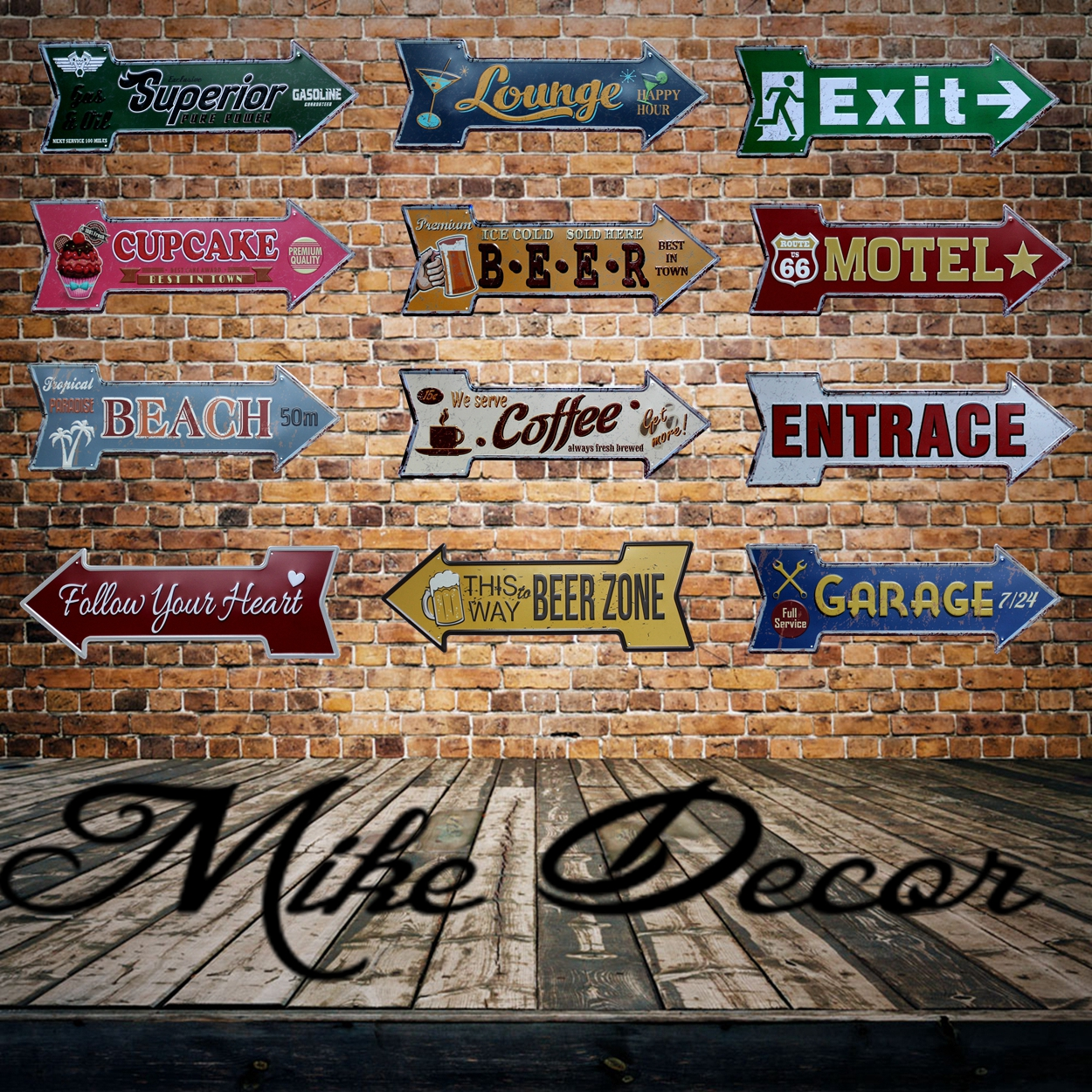 [ Mike86 ] Coffee Beer Garage cupcake Exit Vintage Arrow Irregular Tin Sign Gift Craft Wall Plaque Cafe Supermarket Decor YC-649