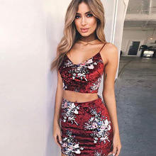 MSSNNG Velvet floral print dress wine Women sleeveless two piece suit Black bodycone party dress Sexy cami top set