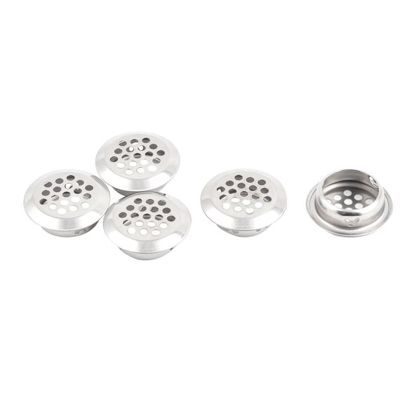 Stainless Steel Kitchen Bathroom Round Mesh Hole Sink Strainer Filter 5pcs Silver Tone