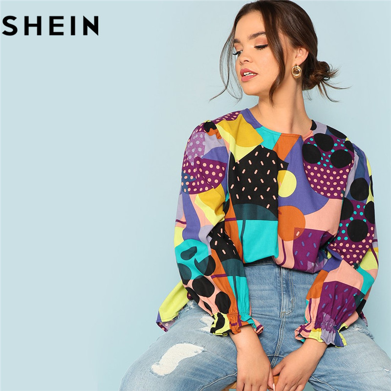 SHEIN Cotton Linen Multicolor Geometric Print Preppy Plus Size Women Blouses 2018 Fashion Long Raglan Sleeve Ruffle Cuff Top