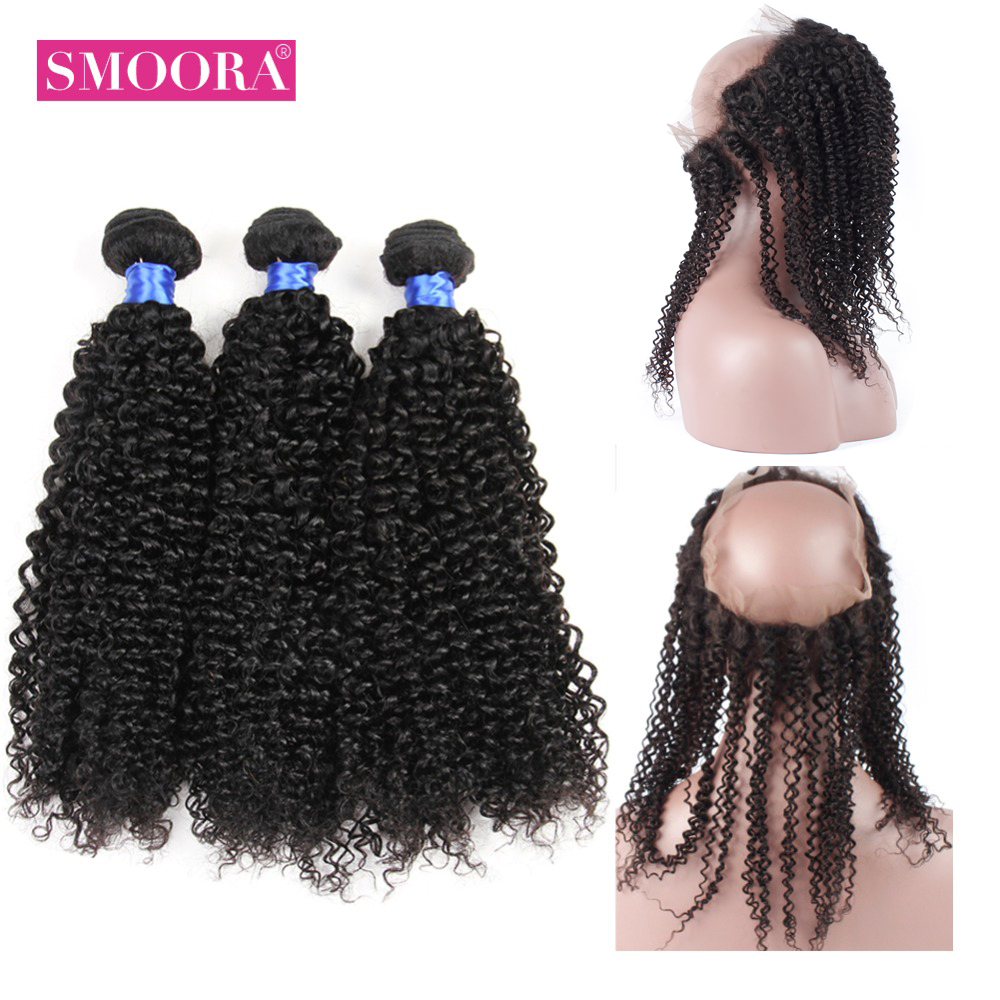 SMOORA Pre-Colored Peruvian Kinky Curly 360 Lace Frontal Closure With Bundles Human Hair Weave Natural Color Non Remy Hair