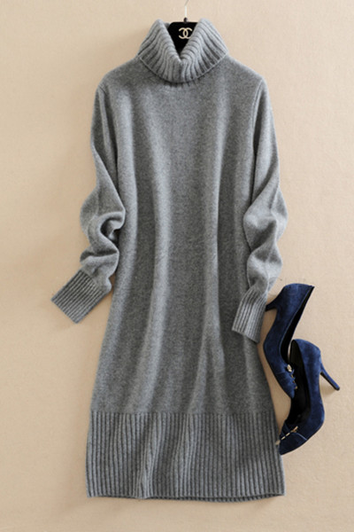 100%cashmere women's fashion winter pullover sweater dress long style twin yarns thicken knit S XL