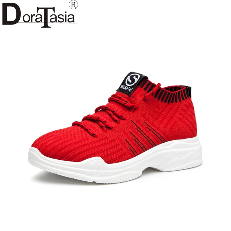DoraTasia New Fashion Flat Round Toe Solid cross-tied Top Quality Shallow Shoes Woman Casual Spring Flats Size 35-40 Sneakers