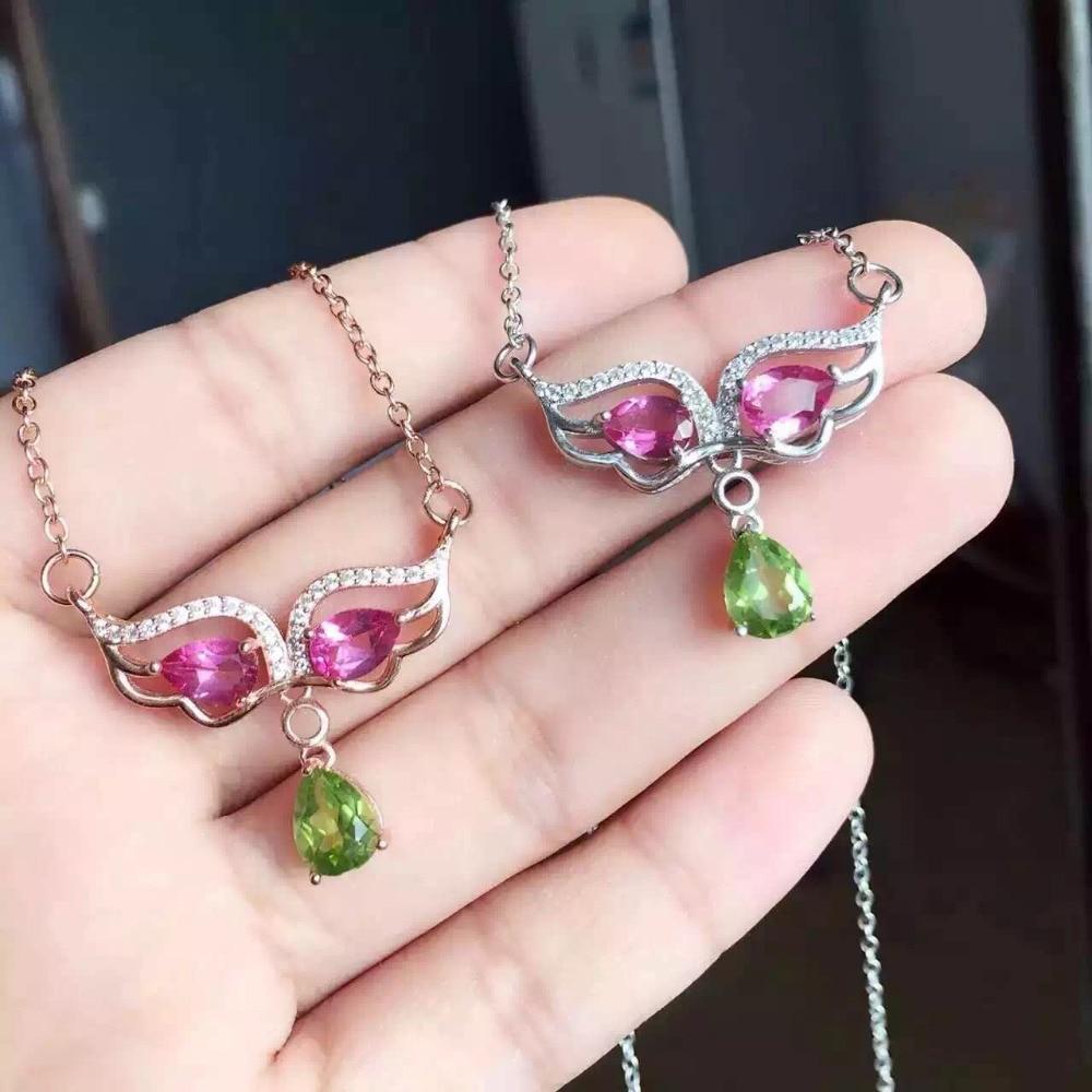 Collier en pierre de topaze rose naturel collier pendentif péridot naturel S925 argent personnalité tendance monstre femmes bijoux