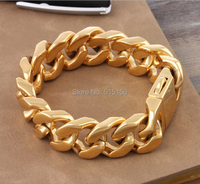 8.66 20mm Fashion Yellow Gold Stainless Steel Bracelet Mens Curb Cuban Chains 2014,PUNK, ROCK, Biker, Wholesale&Free shipping