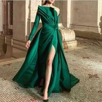 Verngo Green Satin Vintage Evening Dress Off the shoulder Long Dress Formal Dress With Long Sleeve Vestido De festa Longo