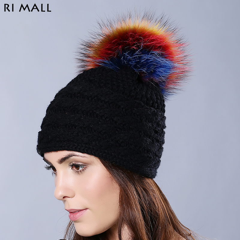 Real Mink Fur Women Pompoms Hats & Caps Winter Solid Color Casual Skullies & Beanies Multi-color Raccoon Fur Ball Knitted Hat