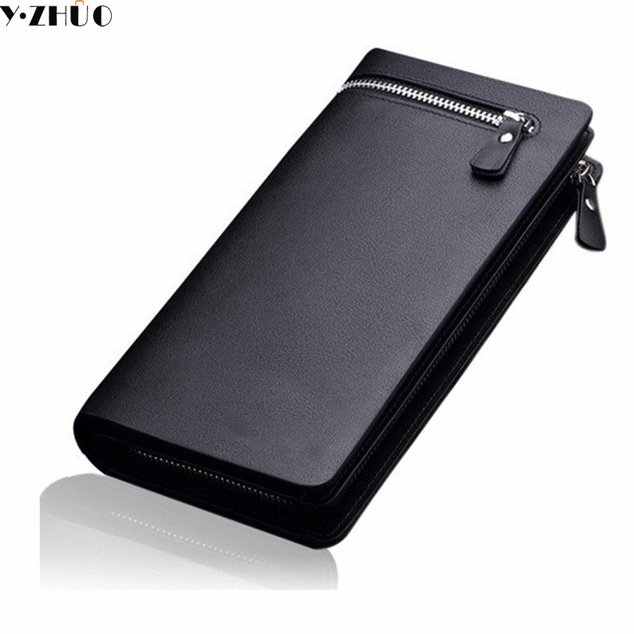 Y.ZHUO Men Leather Wallets Business Brand Card holder Coin Purse Men Long Zipper Wallets Leather Clutch carteira masculina