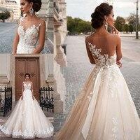 Бежевый свадебный наряд 2019 принцесса А силуэт бусины аппликации Пояса дизайнерский Свадебный платье Vestido de Novia gelinlic robe mariee