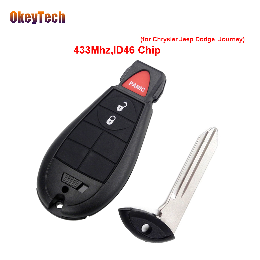 OkeyTech Replacement 2 Button+Panic 433Mhz ID46 Chip Smart Remote Key with Insert Blade Car Key for Dodge Chrysler Jeep Journey