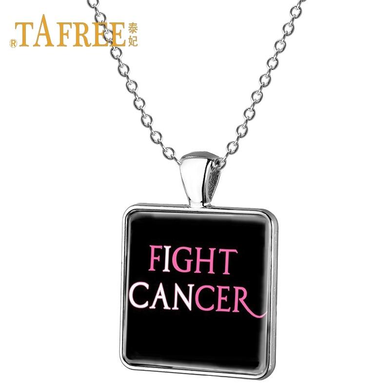 TAFREE Simple fight cancer square pendant necklace Charity event souvenir lady decoration pendant necklace jewerly CC27