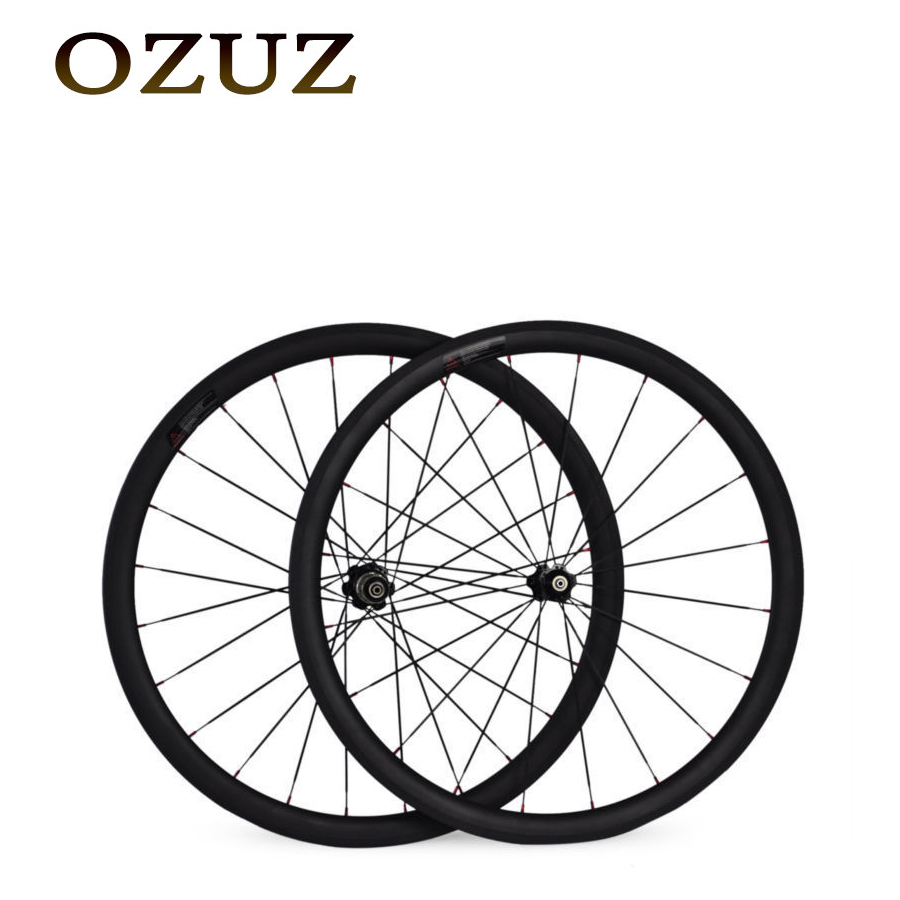 Free custom Fee 38mm Clincher Carbon Road Bicycle Bike Wheels 700C 23mm Width Single Wheel or Wheelset Novatec Hub bike wheel 1set front and rear 700c road bike wheel bicycle magnesium alloy three spokes parts integrated wheel fixed gear single speed