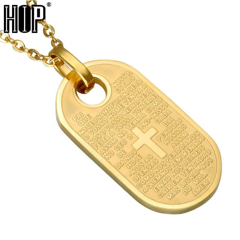 HIP Vàng Màu Sắc Thánh Kinh Thánh Mặt Dây Chuyền & Vòng Cổ Titan Thép Không Gỉ Christian Chữ Thập Vòng Cổ cho Nam Giới Trang Sức