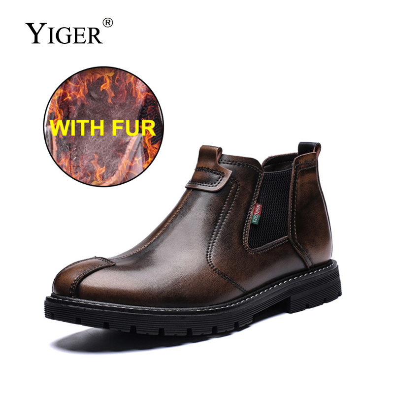 YIGER New Men Chelsea Boots Genuine Leather Men Martins Boots Man Ankle Boots Winter Warm With Fur Male Slip-on Brush Shoes 239