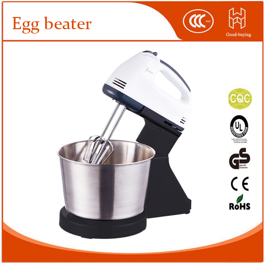 100W 2L Egg Beater Electric Food Dough Mixer Hand Mixer Stainless Steel with 7 Speeds Control With 2 Powder Bar US Plug stainless steel manual push self turning stirrer egg beater whisk mixer kitchen wholesale price