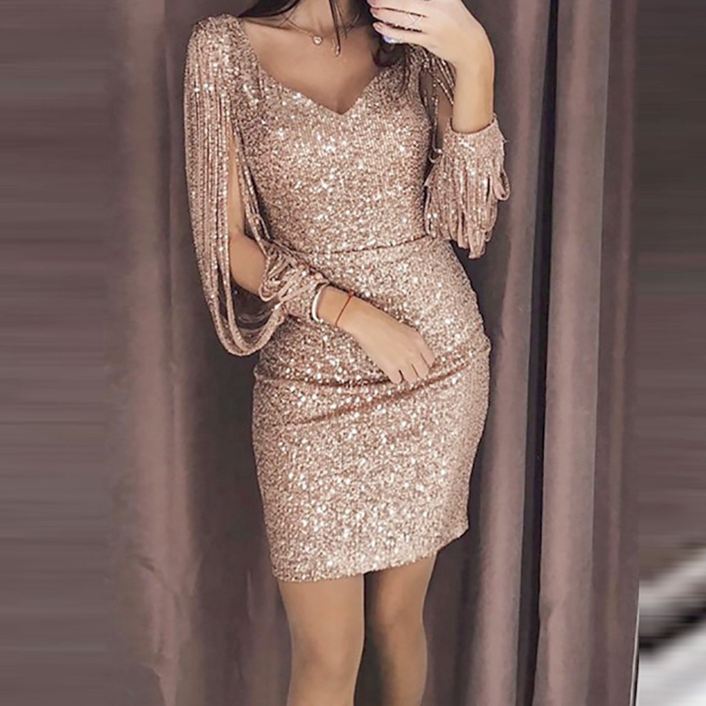 Party <font><b>Dress</b></font> <font><b>Women</b></font> <font><b>Sexy</b></font> Solid Sequined Stitching Shining Club Sheath Long Sleeved Mini <font><b>Dress</b></font> <font><b>Women</b></font> Party Sheath <font><b>Sexy</b></font> V-Neck <font><b>Dress</b></font> image